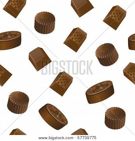 Realistic chololate candy pattern