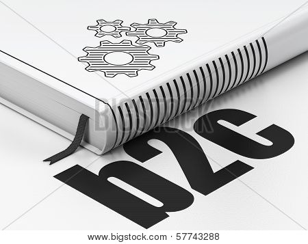 Business concept: book Gears, B2c on white background