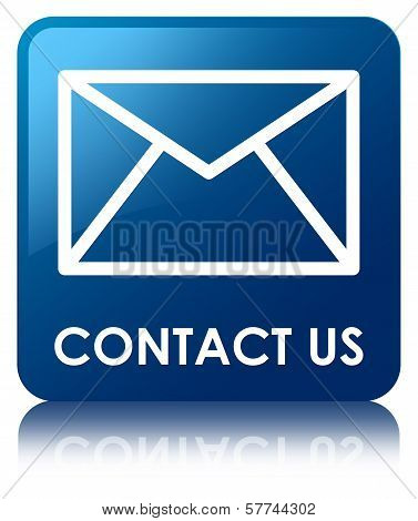 Contact Us (email Icon) Glossy Blue Reflected Square Button