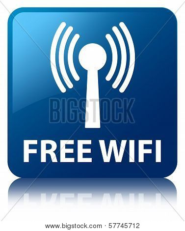 Free Wifi (Wlan Network Icon) Glossy Blue Reflected Square Button