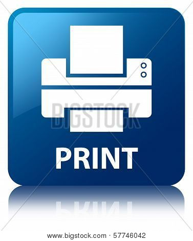 Print Glossy Blue Reflected Square Button