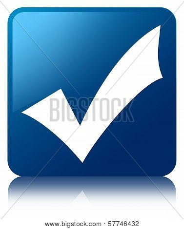 Validation Icon Glossy Blue Reflected Square Button