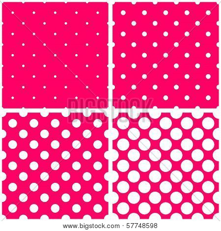 Vector sweet seamless patterns or textures set with white polka dots on pink background