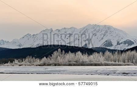 Snowcovered Mountains In  Alaska.