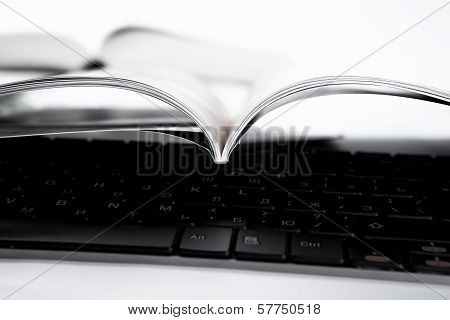 Pages Of Journal And Keyboard Close-up