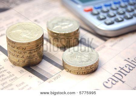 Münzen in einem Diagramm