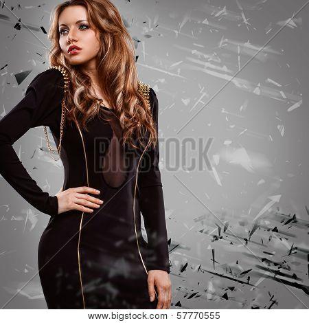 woman wearing dark dress