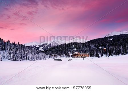 Beautiful Sunrise At Ski Resort Of Madonna Di Campiglio, Italian Alps, Italy
