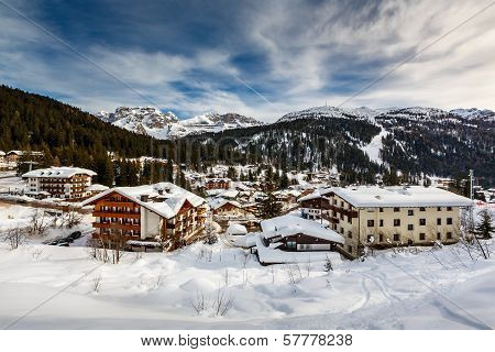 Ski Resort Of Madonna Di Campiglio, View From The Slope, Italian Alps, Italy