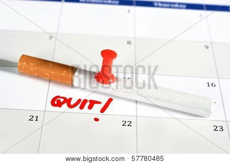 Resolution Quit Smoking On Calendar