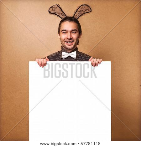 Fashion Guy In  Bunny With Rabbit Ears Holding White Board. Sale, Prices Fall