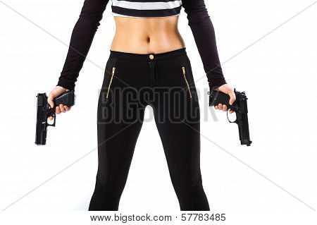 Dangerous Female Assassin Holding Two Guns