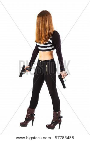 Threatening And Sexy Woman With Guns Is Walking