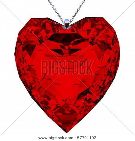 Pendant Heart Shaped Red