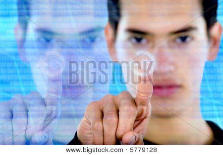 Man Pressing A Button