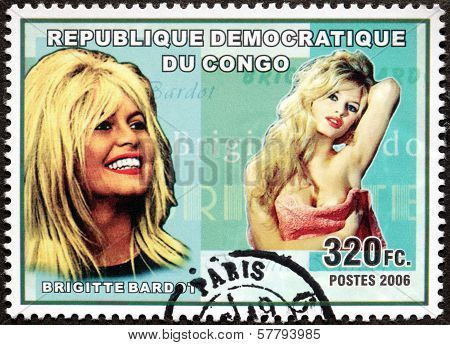 Brigitte Bardot Congo Stamp