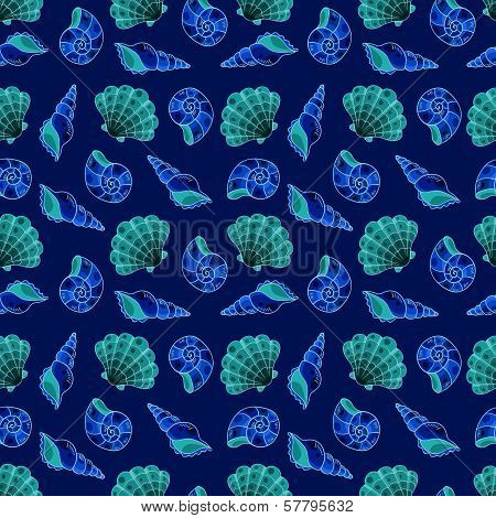 Cockleshells Blue Seamless Pattern.
