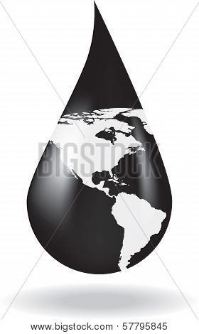 A drop of oil with a map on it
