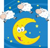 stock photo of counting sheep  - Three Funny Counting Sheep Over A Moon Cartoon Character - JPG