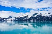 pic of arctic landscape  - Glacier Bay in Mountains in Alaska United States - JPG