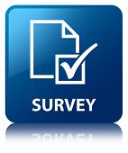 Survey Glossy Blue Reflected Square Button