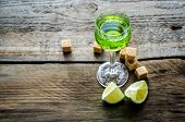 stock photo of absinthe  - Glass of absinthe with lime and sugar cubes - JPG