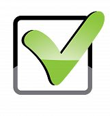 picture of confirmation  - Vector illustration of icons showing confirmation painted green - JPG