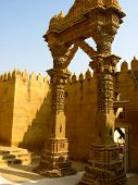 image of jain  - Beautifully carved sandstone gateway of a jain temple in Rajasthan - JPG