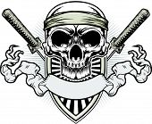 stock photo of apparel  - vector illustration of skull with double samurai and shield at background - JPG