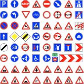 stock photo of road sign  - Set of 66 European road signs vector - JPG