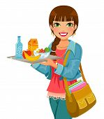 stock photo of trays  - smiling girl holding a tray with a healthy lunch - JPG