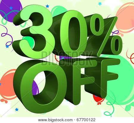 Thirty Percent Off Indicates Promotion Sales And 30%