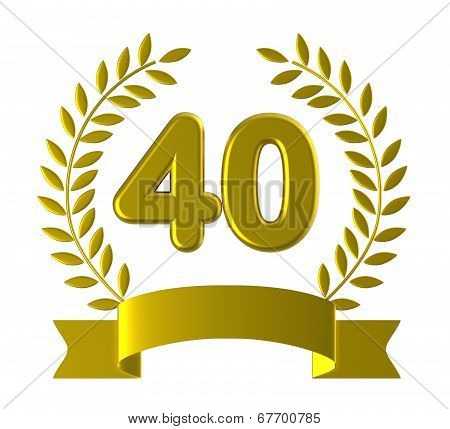 Fortieth Forty Shows Happy Birthday And 40