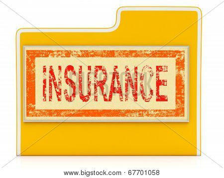 File Insurance Shows Document Folder And Financial