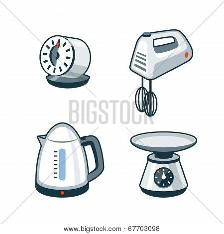 Home Appliances 4 - Timer, Hand Mixer, Electric Kettle, Kitchen Scale