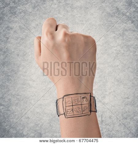 Wearable device concept of digital watch, hand drawing.