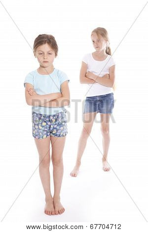 Two Young Girls Having A Disagreement