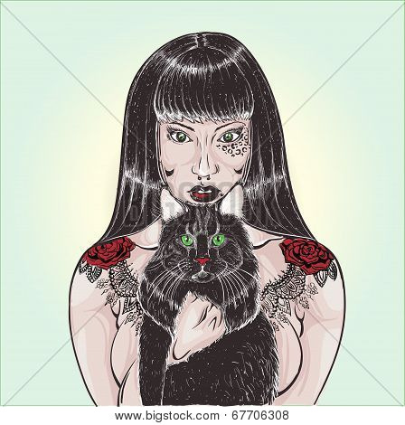 Tattoo Girl With Pet Cat Eps 8 Vector, Grouped For Easy Editing, With No Open Shapes Or Paths.