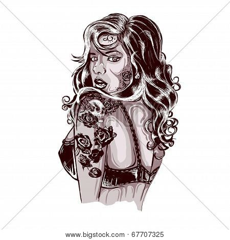 Vibrant Rockabilly Woman With Tattoo On Arms