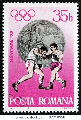 Postage Stamp Romania 1972 Boxing, Silver Medal
