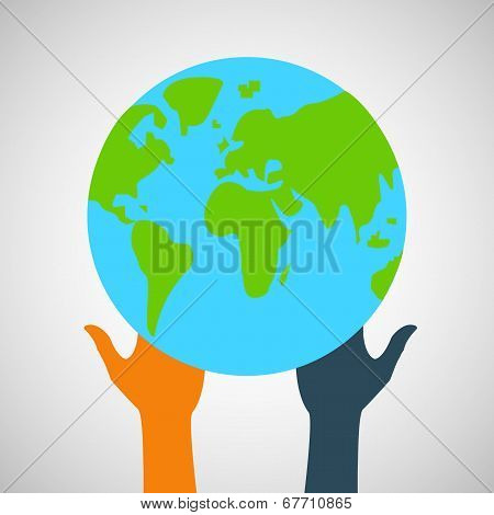 Stock flat icon globe and hands eps