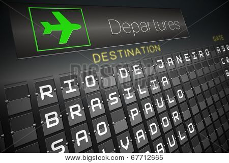 Digitally generated departures board for south america