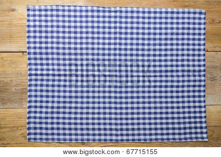 Dish Towel Blue On Rustic Wooden Background