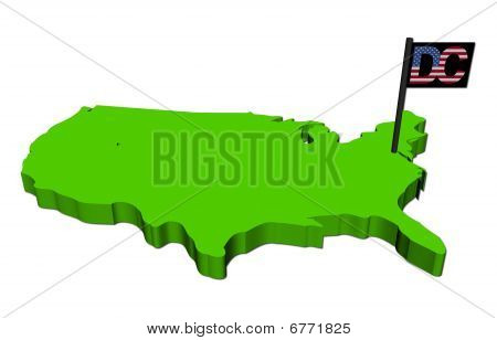Map Of Usa With Washington DC Flag