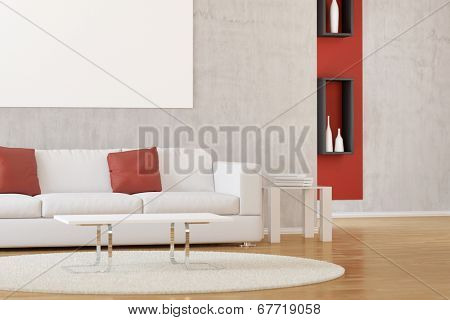 Interior of modern white living room with carpet and sofa