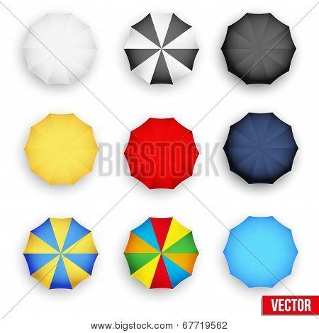 Symbol set of a parasol, top view. Vector.