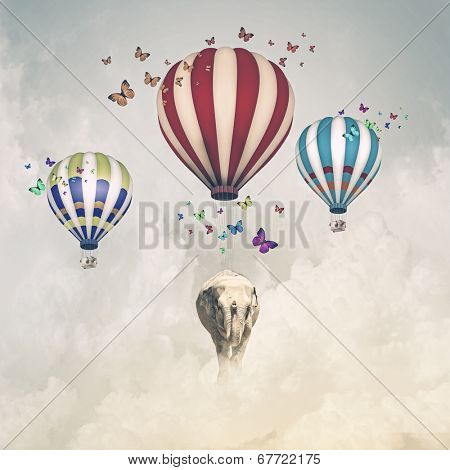 Sunny image of elephant flying in sky on aerostat