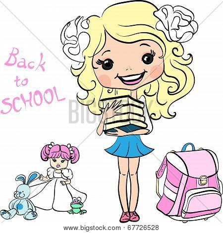 Vector Cute Baby School Girl