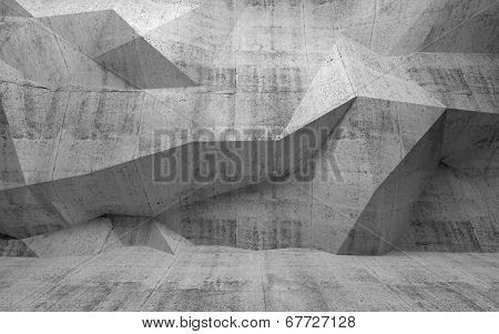 Abstract Dark Concrete 3D Interior With Polygonal Pattern On The Wall