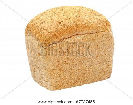 Rye And Wheat Flour White Bread Coarse Grinding And Brick Shape.isolated.